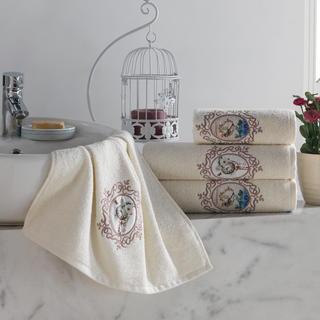 Sada froté ručníků s výšivkou béžová 4 ks