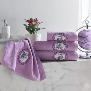 Sada froté ručníků s výšivkou fialová 4 ks