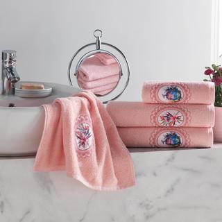 Sada froté ručníků s výšivkou lososová 4 ks