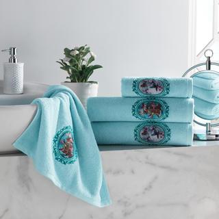 Sada froté ručníků s výšivkou světle modrá 4 ks
