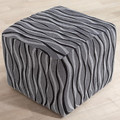 Monoelastické potahy CASIOPEA šedé, taburet (š. 40 x 60 cm)