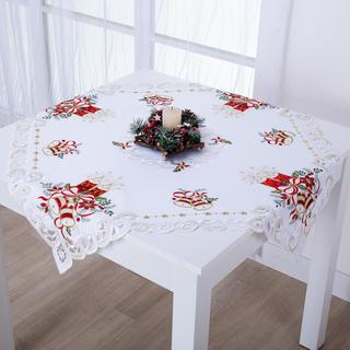 Vánoční středový ubrus s bílo - červenou výšivkou SVÍCEN 85 x 85 cm