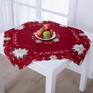 Vánoční červený středový ubrus POISONETTA 85 x 85 cm