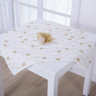 Vánoční smetanový středový ubrus se zlatou výšivkou HVĚZDY 85 x 85 cm