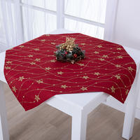 Vánoční červený středový ubrus se zlatou výšivkou HVĚZDY 85 x 85 cm