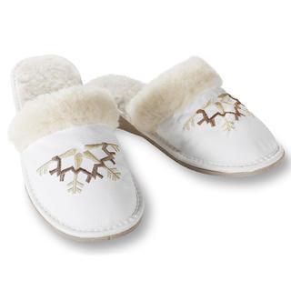 Domácí kožené boty s ovčím rounem bílé