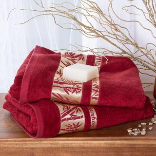 Sada bamsusových ručníků se zlatou bordurou BORDÓ 2 ks