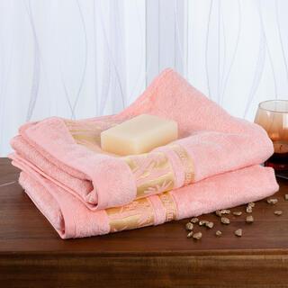 Sada bambusových ručníků lososová 70 x 90 cm 2 ks