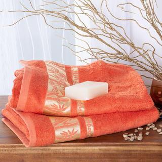 Sada bambusových ručníků se zlatou bordurou MERUŇKOVÉ 2 ks