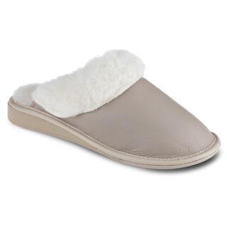 Dámské pantofle pro širokou nohu béžové