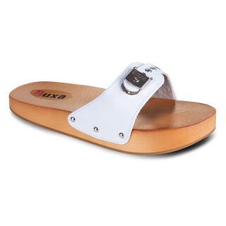 Anticelulitické dřevěné pantofle bílé