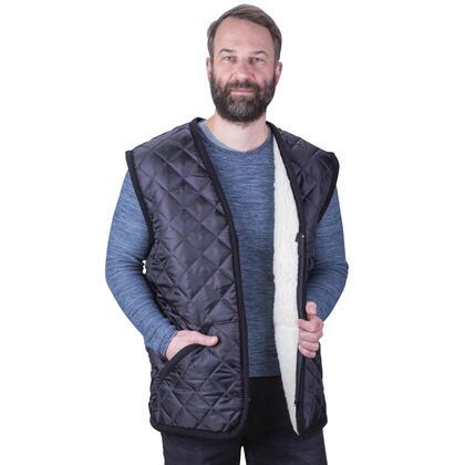 Prošívaná vesta s vlnou černá