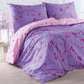 Bavlněné ložní povlečení ALEGRIA růžovo-fialové, prodloužená délka