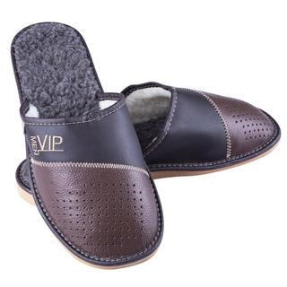 Pánské pantofle s ovčí vlnou s výšivkou