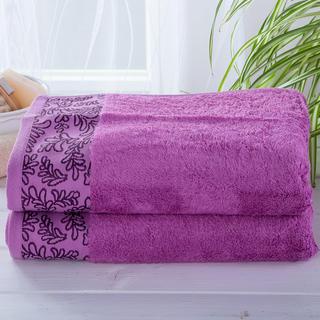 Sada bambusových ručníků s bordurou FUCHSIOVÉ 2 ks