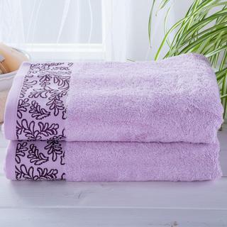 Sada bambusových ručníků s bordurou SVĚTLE FIALOVÉ 2 ks