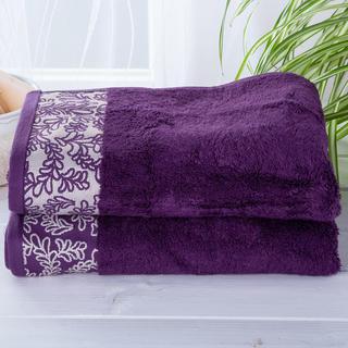 Sada bambusových ručníků s bordurou TMAVĚ FIALOVÉ 2 ks