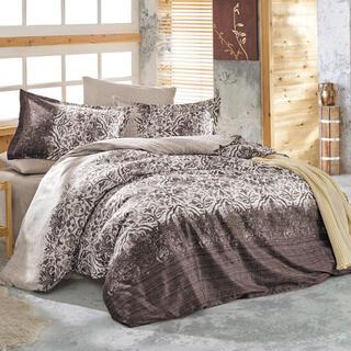 Saténové povlečení HOLLY hnědé, francouzská postel