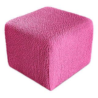 Bielastické potahy BUKLÉ růžová taburet (40 x 40 x 40 cm)