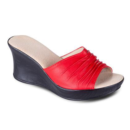 Dámské kožené pantofle na klínku červené