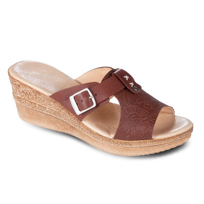 Dámské kožené vycházkové pantofle na klínku hnědé
