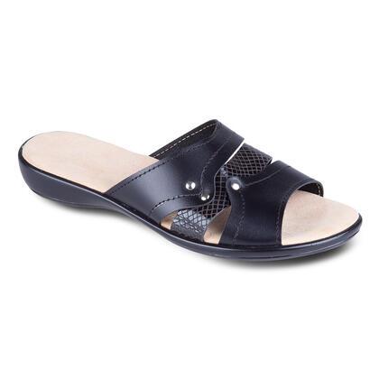 Dámské kožené vycházkové pantofle na klínku černé
