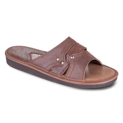Dámské kožené pantofle hnědé