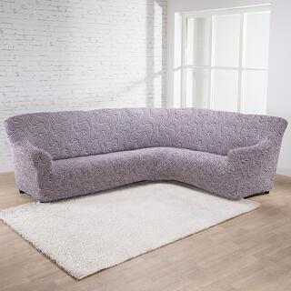 Bielastické potahy BRILLANTE hnědé, rohová sedačka (š. 350 - 530 cm)