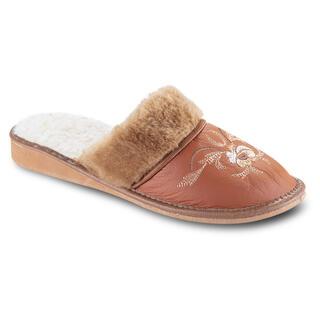 Dámské pantofle s výšivkou karamelové