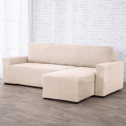 Super strečové potahy NIAGARA smetanová, sedačka s otomanem vpravo (š. 210 - 320 cm)