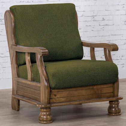 Super strečové potahy NIAGARA zelená, křeslo s dřevěnými rukojeťmi (š. 50 - 80 cm)