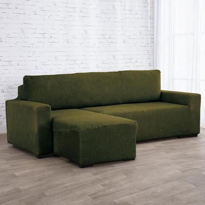 Super strečové potahy NIAGARA zelená, sedačka s otomanem vlevo (š. 210 - 320 cm)