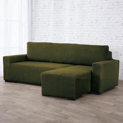 Super strečové potahy NIAGARA zelená, sedačka s otomanem vpravo (š. 210 - 320 cm)