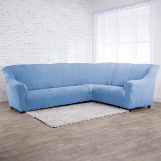 Super strečové potahy NIAGARA modrá, rohová sedačka (š. 340 - 540 cm)