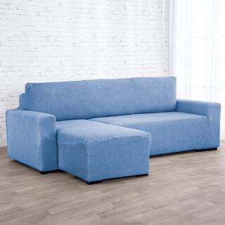 Super strečové potahy NIAGARA modrá, sedačka s otomanem vlevo (š. 210 - 320 cm)