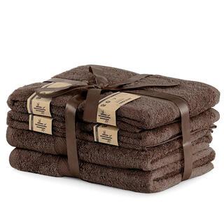 Sada bambusových ručníků a osušek BAMBY hnědá  6 ks