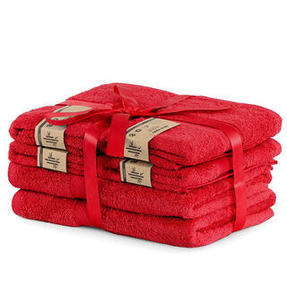 Sada bambusových ručníků a osušek BAMBY červená  6 ks