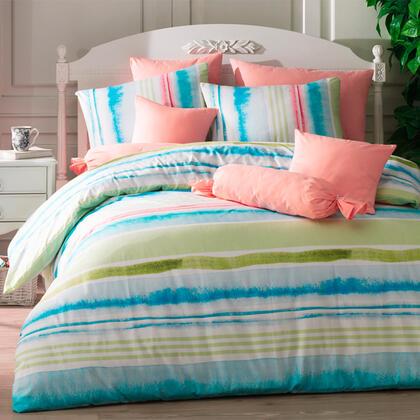 Bavlněné ložní povlečení TEMPERA tyrkysové, francouzská postel