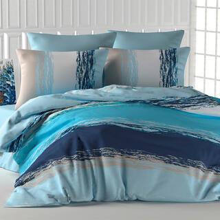 Bavlněné ložní povlečení THICK LINE modré, francouzská postel