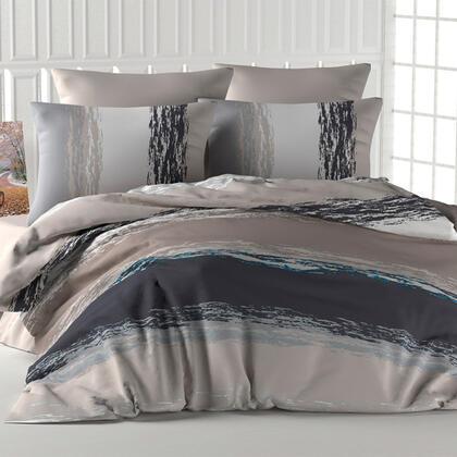 Bavlněné ložní povlečení THICK LINE hnědé, francouzská postel