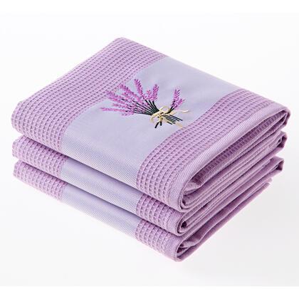Sada vaflových utěrek LEVANDULE fialové 3 ks