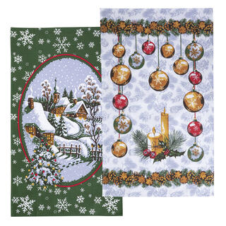 Vánoční utěrky KOULIČKY a KOSTELÍK sada 2 ks