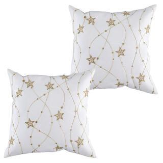 Sada 2 ks povlaků na polštářky bílé s výšivkou  Zlaté hvězdy 40 x 40 cm
