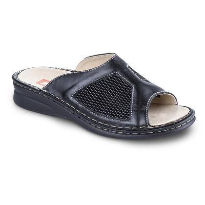 Celokožené zdravotní pantofle s pružným nártem