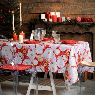 Luxusní vánoční ubrus JINGLE BELLS kuličky 140 x 280 cm