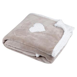 Beránková deka COCOON srdce béžová 130 x 160 cm