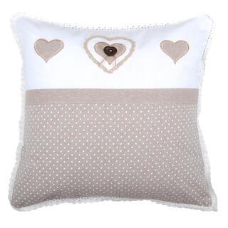 Dekorační polštářek LYNA  srdce puntík bílá 40 x 40 cm