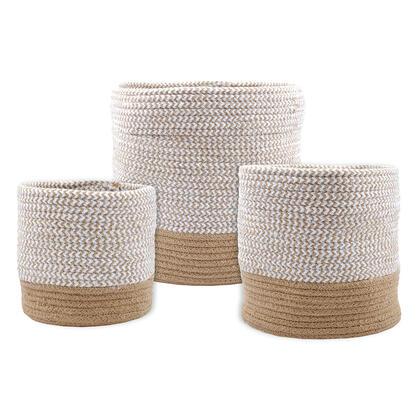 Sada 3 košíků z mořské trávy VANUA béžová
