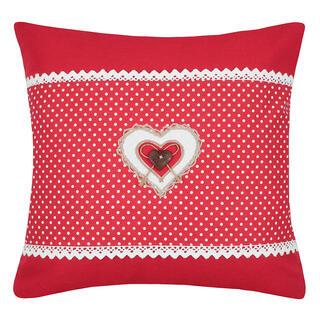 Dekorační polštářek LYNA puntík srdce červená 40 x 40 cm