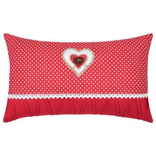 Dekorační polštářek LYNA puntík srdce červená 30 x 50 cm